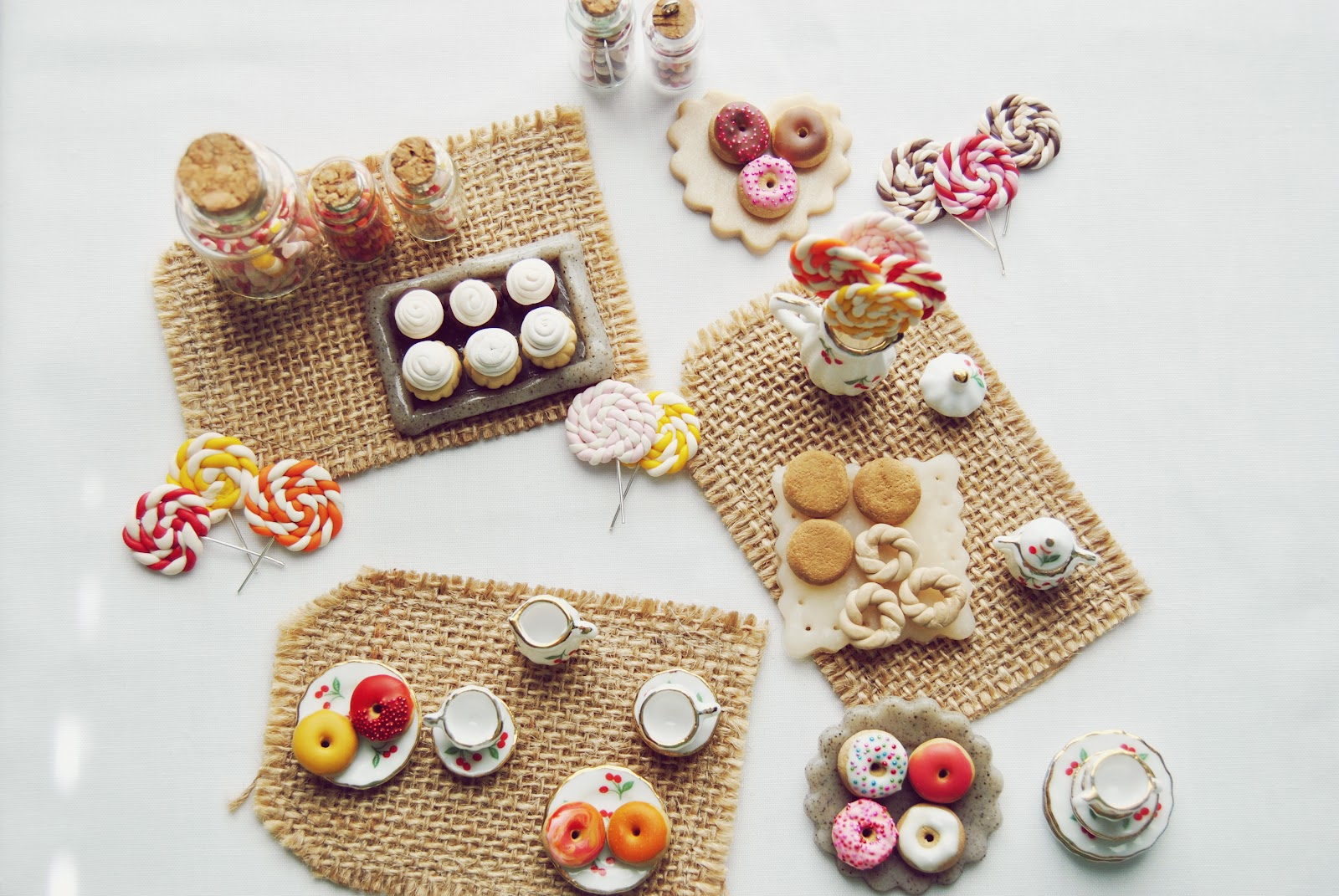 Pasteltinted Polymer Clay Miniature Sweets Candy Desserts