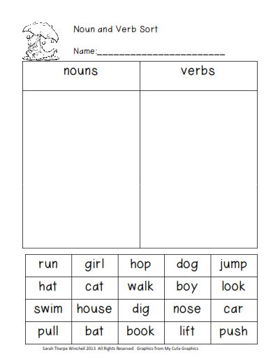 Noun Worksheets for Elementary School - Printable