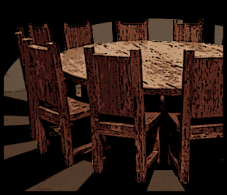 Pathfinder table with rough chairs in dark room