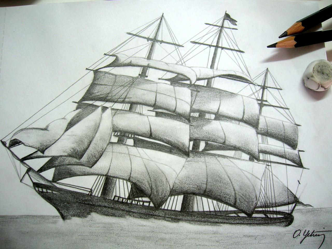 Gemi Karakalem çizimleri Karakalem çizimleri Karakalem Anime
