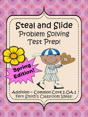 Fern Smith's TEST PREP for Spring - Addition Word Problems Using STEAL and SLIDE For Common Core 2.OA.1