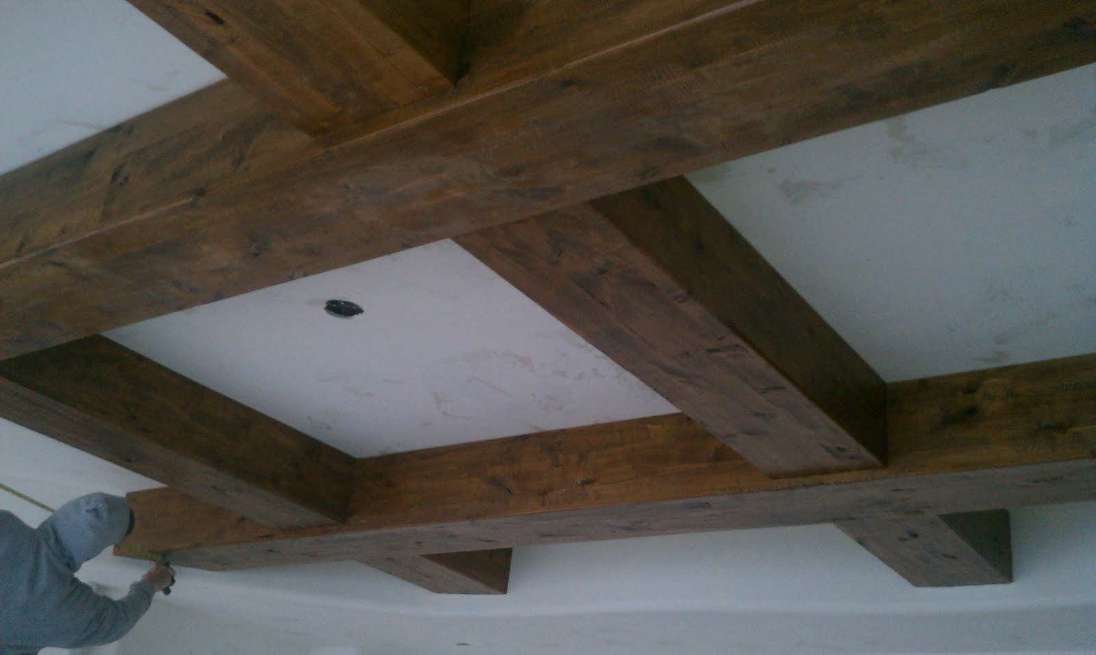 wood tremendous beams exposed how step perfect gallant ceiling faux fake truss reputable ceilings to system install diy decorative at