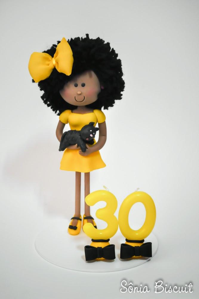 Topo de Bolo Biscuit 30 Anos Black Power