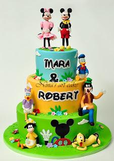 "Tort ""Mickey & friends"" pentru Mara si Robert"