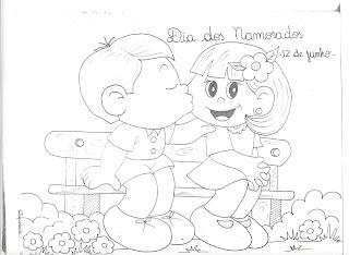 Desenhos Preto e Branco dia-dos-namorados-12-Junho coração e flores Colorir