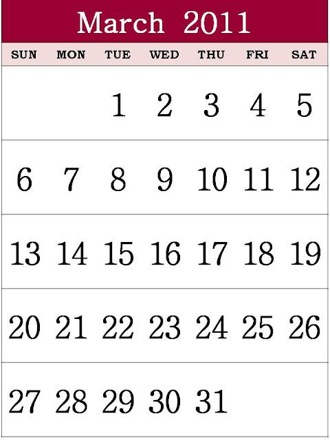 calendar 2011 march image. CALENDAR 2011 MARCH TEMPLATE