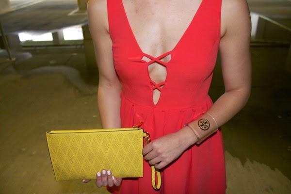 LuLu's Dress, Aldo clutch, Jessica SImpson snakeskin heels, yellow clutch