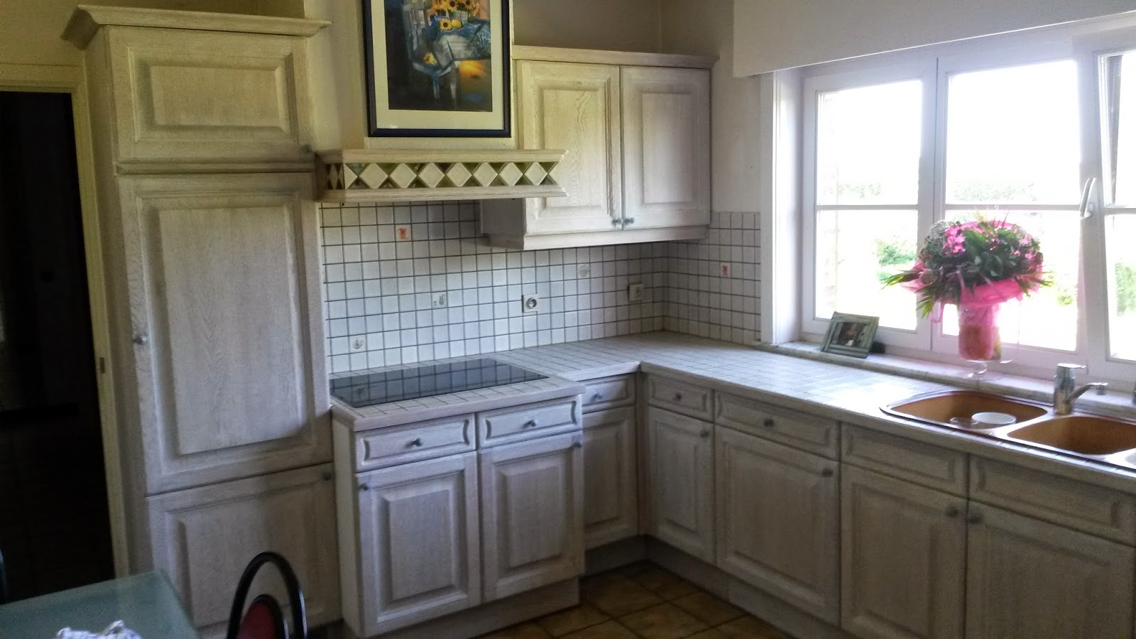 Zandstralen, vernieuwen, beitsen en vernissen van eiken keuken uit ...