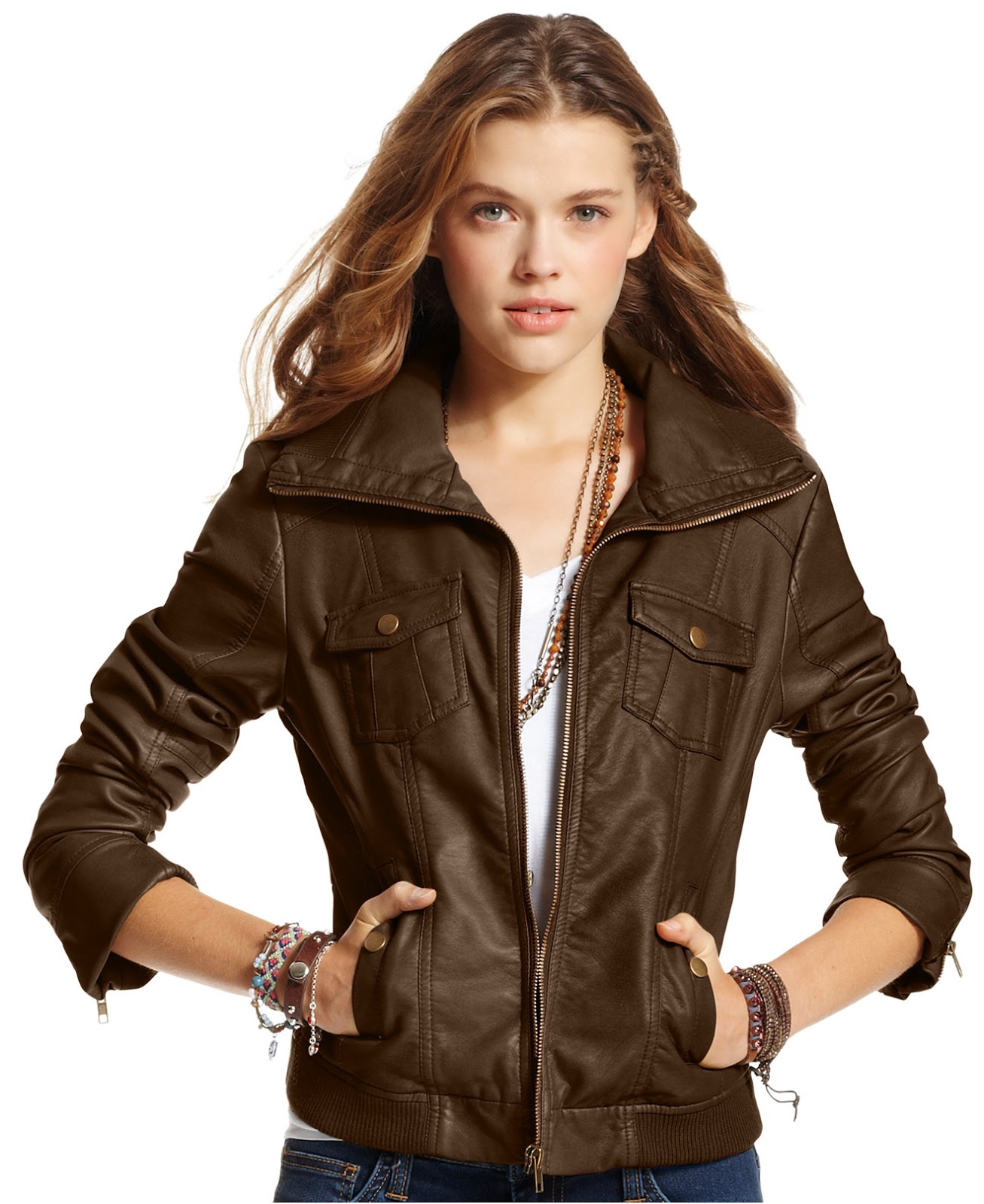 Womens Brown Faux Leather Jackets New York Company ...