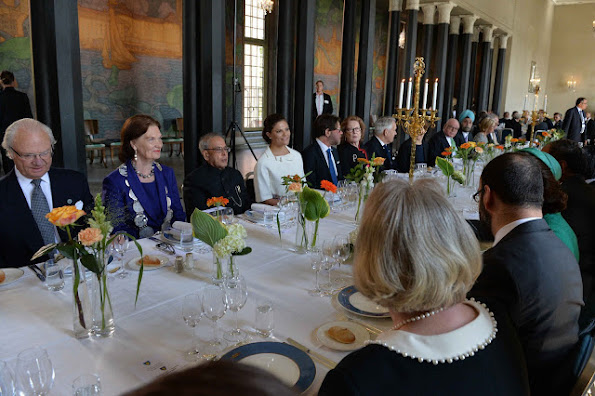 Sweden Royal Family held a lunch in honour of India President Mukherjee at the Stockholm City Hall