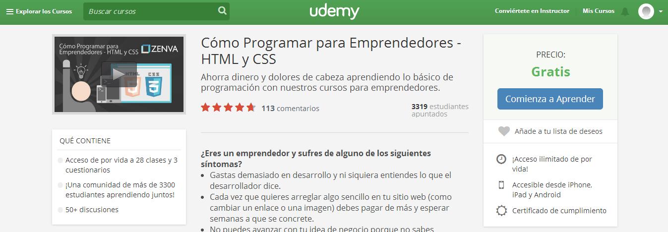 curso MOOC htm y css para emprendedores udemy