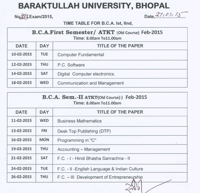 B c a atkt timetable for 1st and 3rd semesters for Bu time table 5th sem