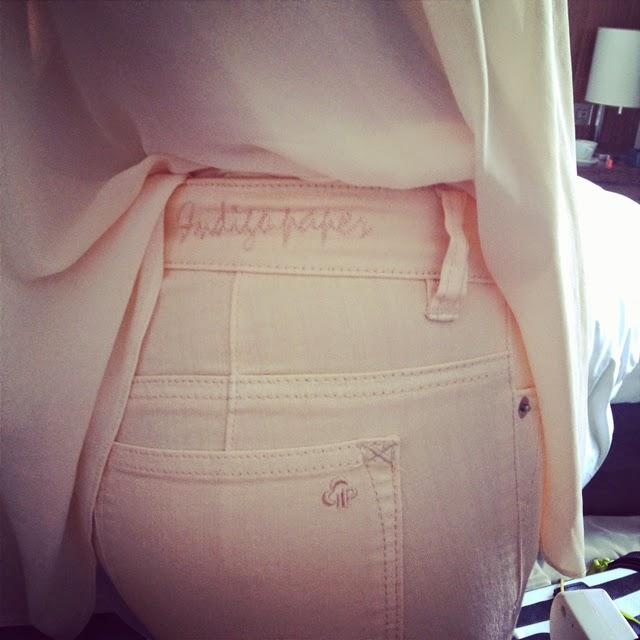 peach skinny indigo paper jeans