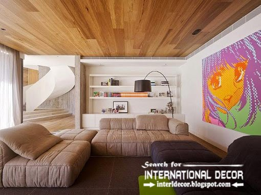 Ordinaire Living Room Drop Ceiling Of Wood, Timber Ceiling Panels, Wood Ceiling