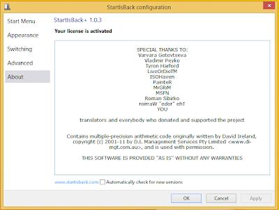 StartIsBack+ 1.0.3 For Windows 8.1