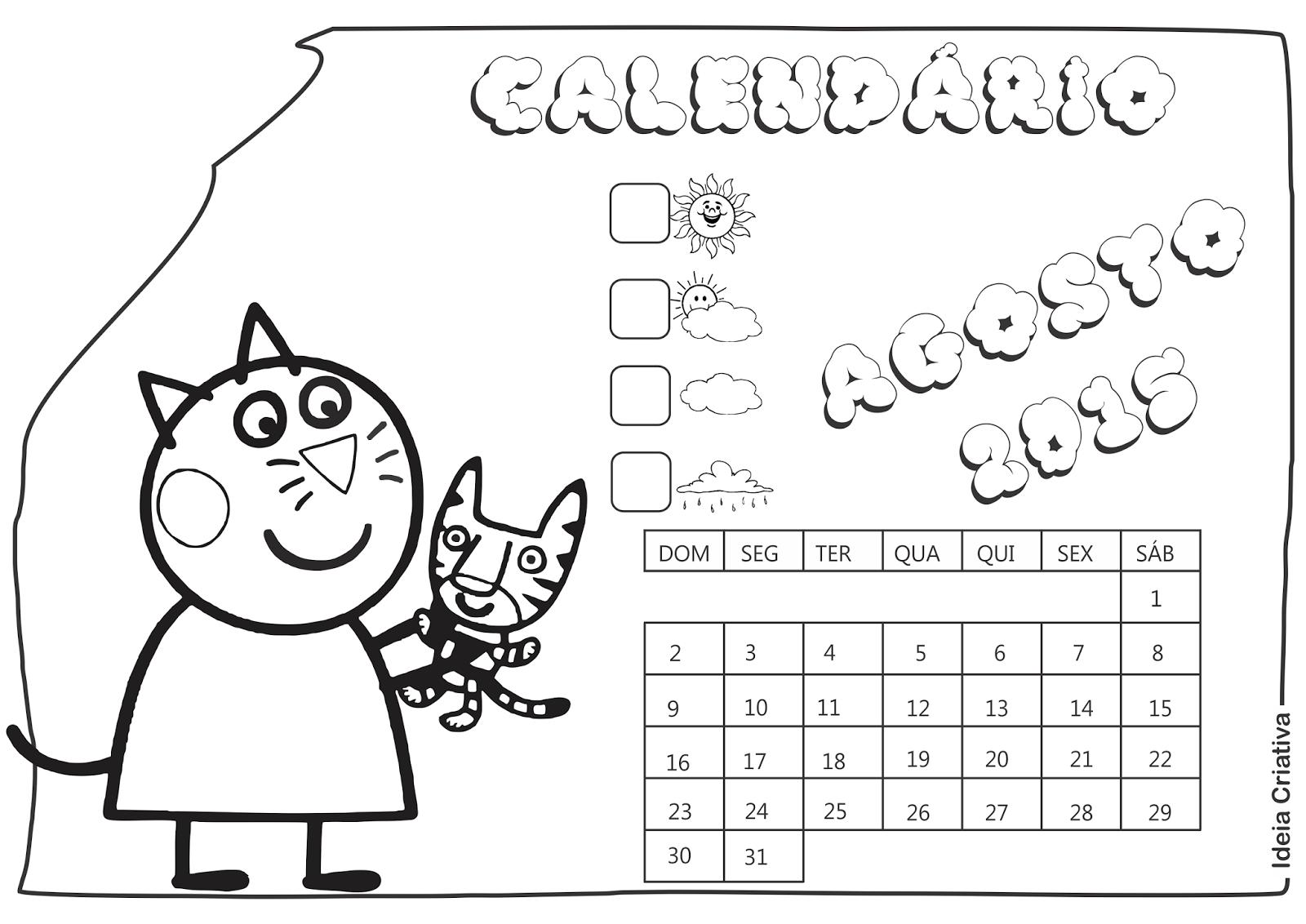 Calendário Agosto 2015 Peppa Pig e Seus Amigos para Imprimir Grátis