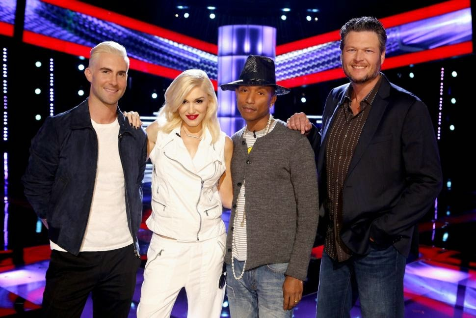 Adam Levine, Gwen Stefani, Pharrell Williams, Blake Shelton are the coaches for 'The Voice' season 7