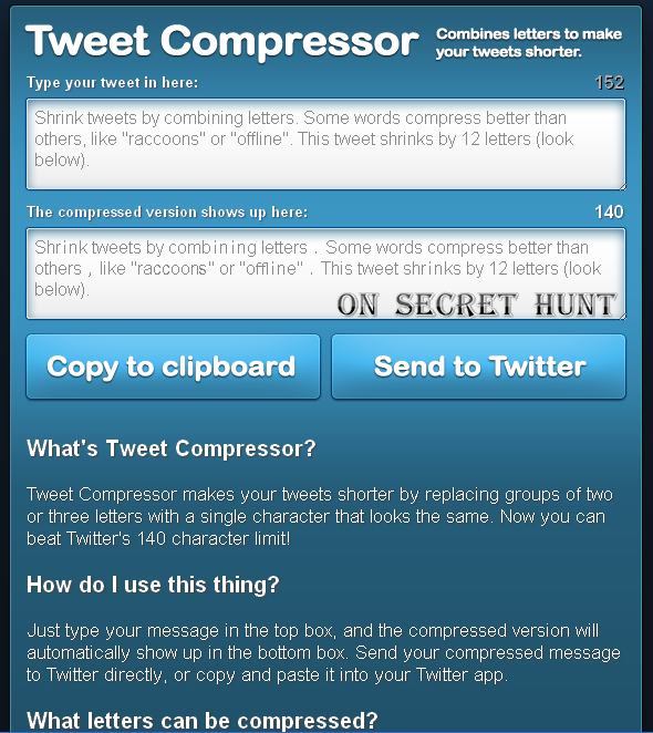 tweetcompressor Top 6 Websites To Shorten Your Tweets Automatically