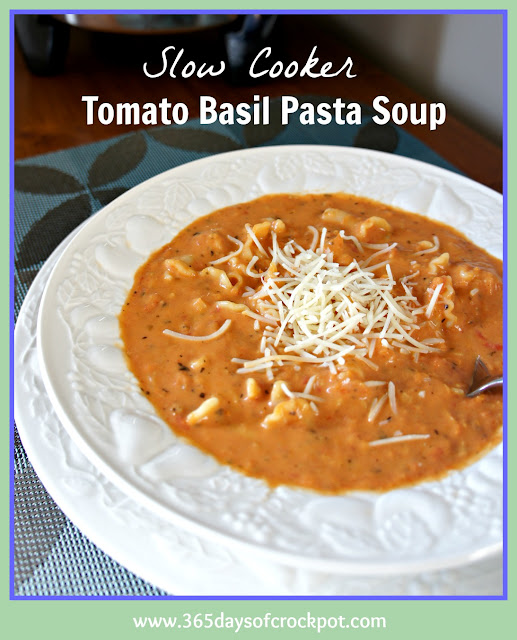 slow cooker tomato basil soup with campanelle