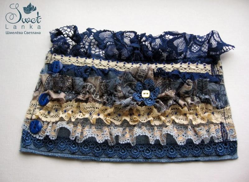 браслет из джинсовой ткани с кружевом