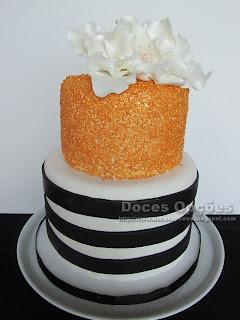 bolo vintage dourado doces opções