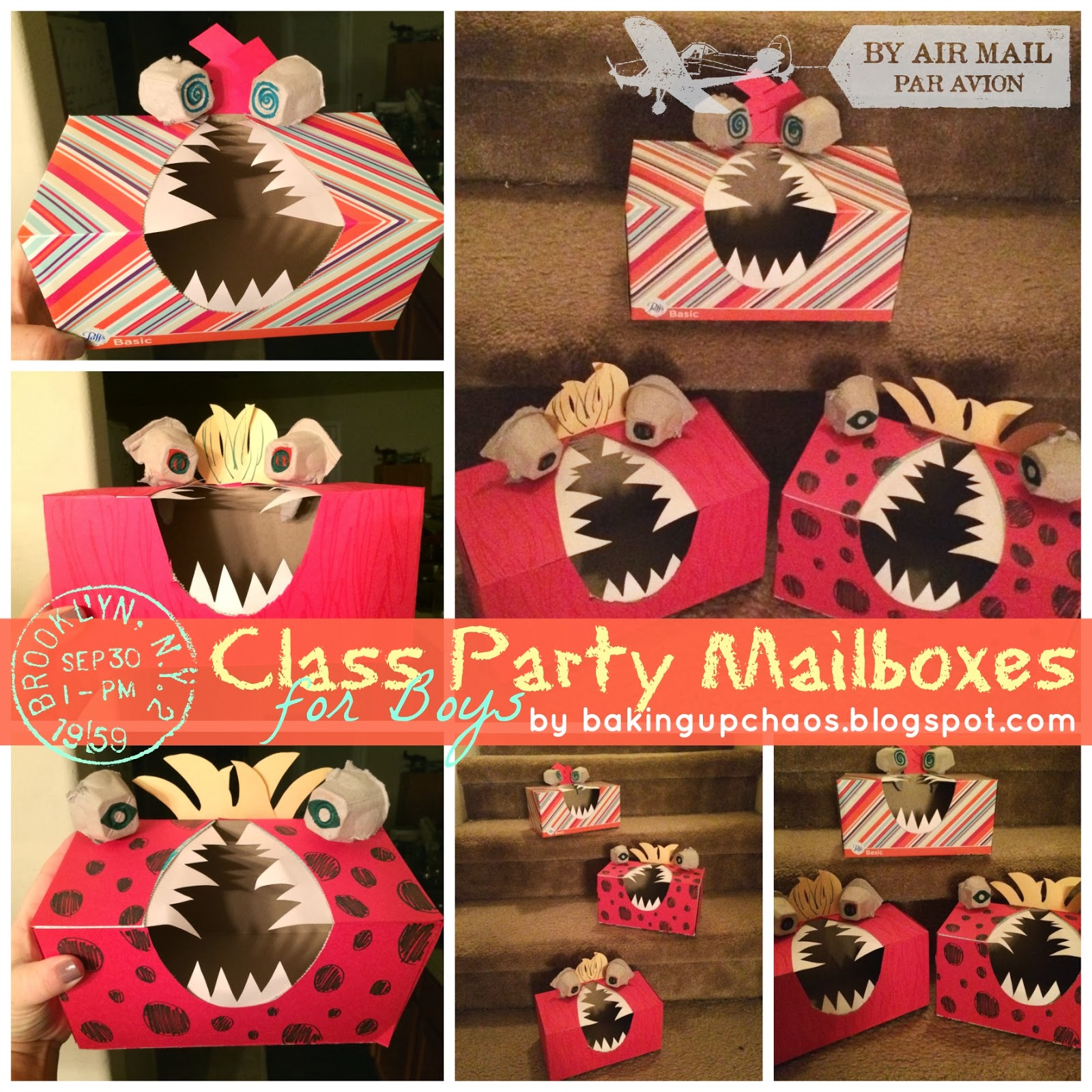 Class party mailboxes for boys by BakingUpChaos