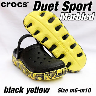 crocs duet sport marbled black yellow