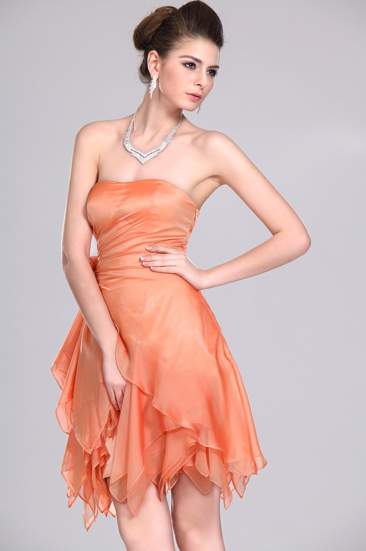 Robe de soiree orange courte