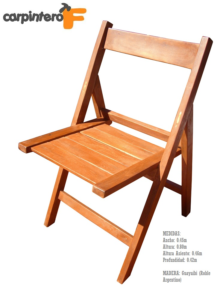 Silla plegable madera de guayaibi interior exterior for Sillas para planos