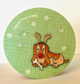 Basset Hound Christmas card by Samantha Mann for Newton's Nook Designs