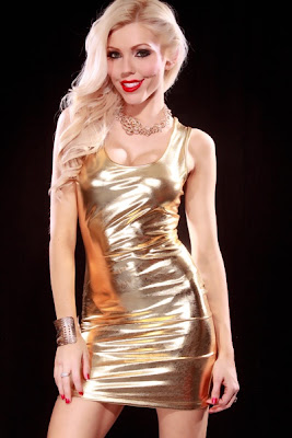 GOLD SCOOP NECK SLEEVELESS METALLIC SEXY MINI DRESS