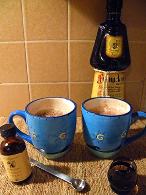 Two Mugs of Cocoa Toddy with Vanilla and Frangelico