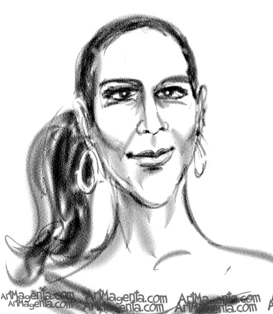 Jennifer Lopez caricature cartoon. Portrait drawing by caricaturist Artmagenta