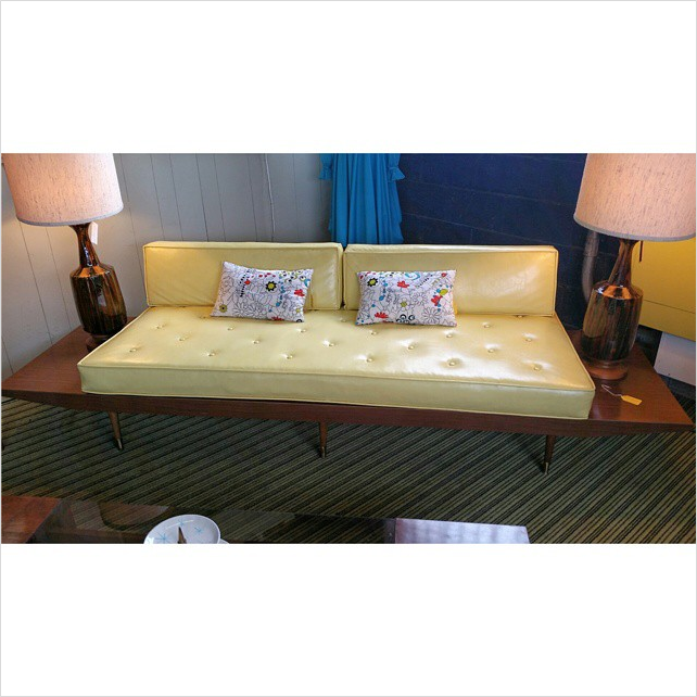 #thriftscorethursday Week 54 | Instagram user: eveislestudios shows off this Mid Century Modern Yellow Vinyl Sofa