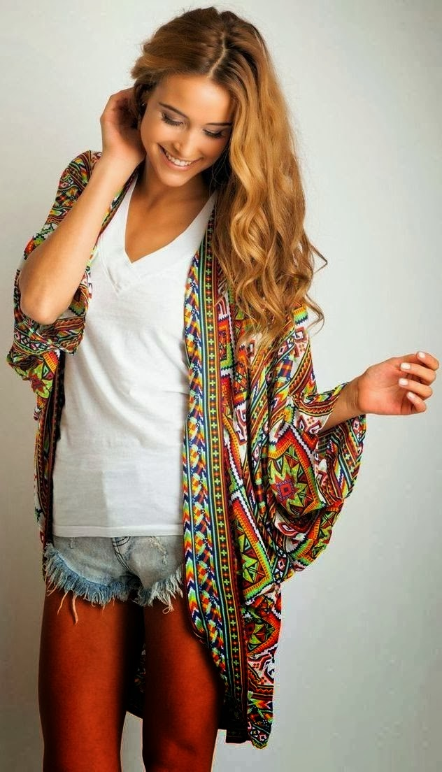 Attractive Colorful Patterned Oversized Cardigan With T Shirt And Mini