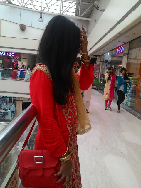 red coloured pakistani suit