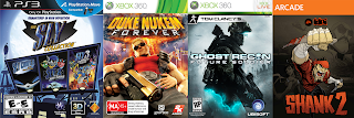 Sly, Ghost Recon, Shank, Duke Nukem Forever
