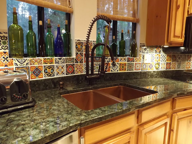 verde peacock granite copper sink