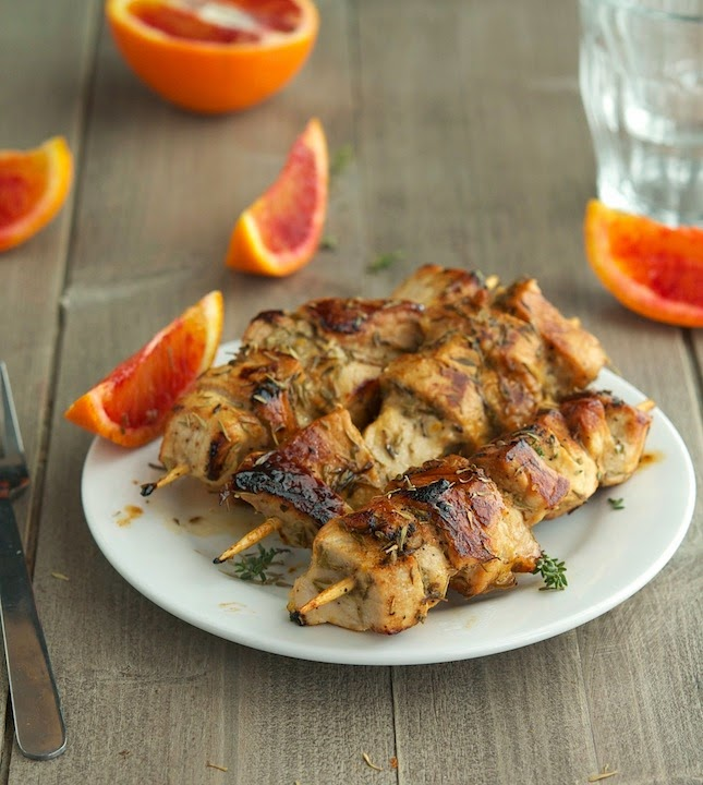 Orange Thyme Pork Kebabs