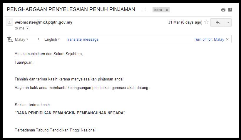 OC Surat Pelepasan Hutang – Release of Debt Letter
