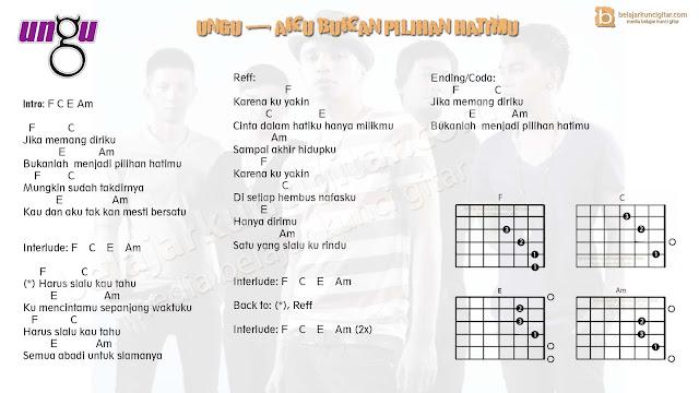 Gambar kunci gitar Ungu Bukan Pilihan Hatimu dan lirik lagu