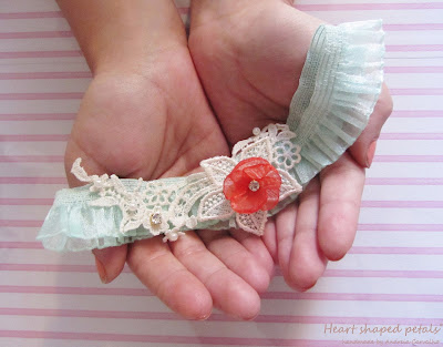 bridal garter in mint and coral