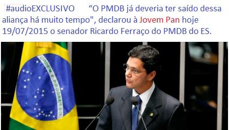 """""""O PMDB já deveria ter saído dessa aliança há muito tempo"""", declarou o senador Ricardo Ferraço do PMDB à Jovem Pan."""