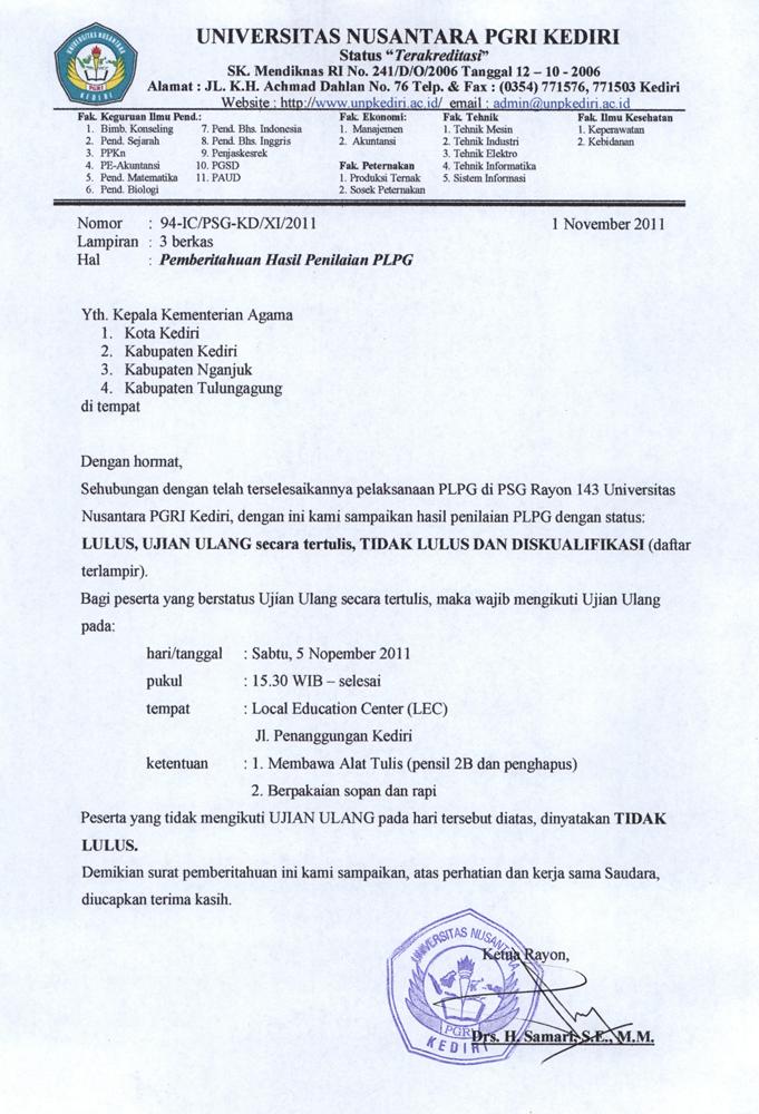 hasil penilaian plpg kemenag 2011 psg 143 unp kediri