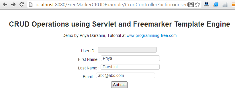 CRUD Operations using Servlet and FreeMarker Template Engine ...