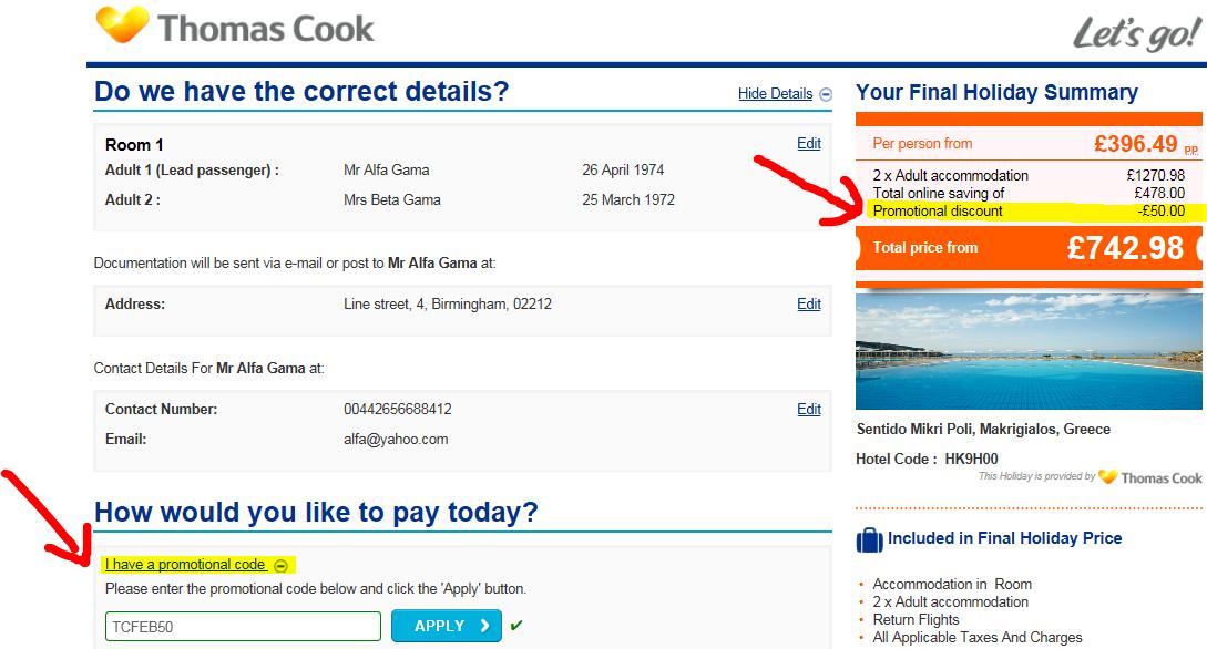 Thomas cook flight discount coupons