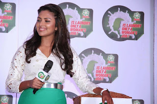 Actress Amala Paul Latest Pictures in Green Skirt at Ariel Launch 5