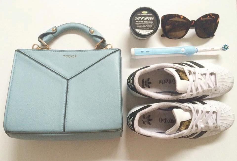 topshop mini bag, lush face mask, adidas superstars, oral b toothbrush, new look sunglasses