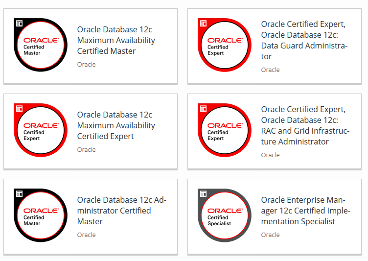Oracle Certifications 12c