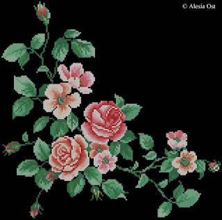 Rose Branch, floral, oriental, cross-stitch, back stitch, cross-stitch scheme, free pattern, x-stitchmagic.blogspot.it, вышивка крестиком, бесплатная схема, punto croce, schemi punto croce gratis, DMC, blocks, symbols